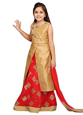 Beige N Red Art Silk Brocade Kids Lehenga