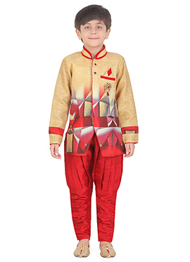 Beige N Red Art Silk Kids Kurta Pyjama