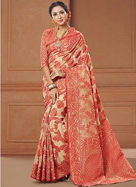 Beige N Red Art Silk Saree