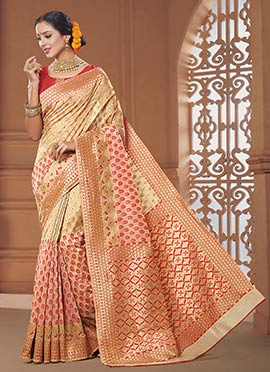 Beige N Red Art Silk Saree
