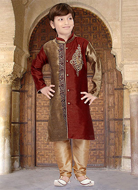 Beige N Red Art Silk Teens Kurta Pyjama