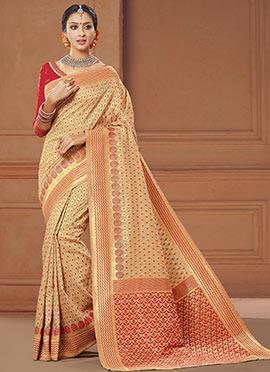 Beige N Red Benarasi Art Silk Saree