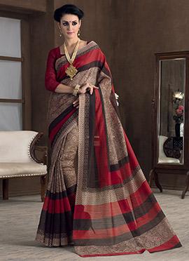 Beige N Red Bhagalpuri Art Silk Saree