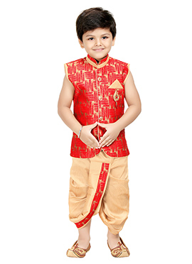 Beige N Red Blended Cotton Kids Dhoti Kurta