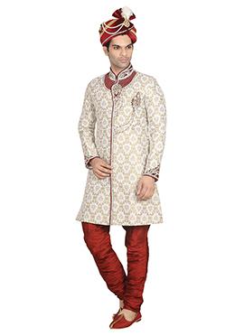 Beige N Red Breeches Style Sherwani
