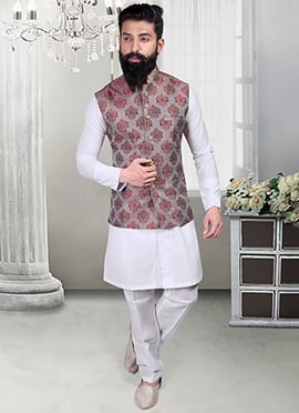 Beige N Red Brocade Foliage Designed Nehru Jacket