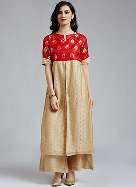 Beige N Red Chanderi Cotton Palazzo Suit