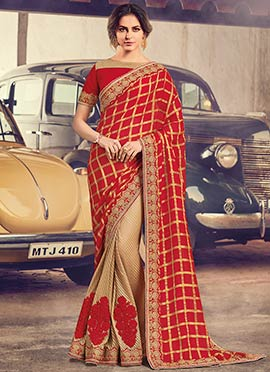 Beige N Red Chiffon Net Saree
