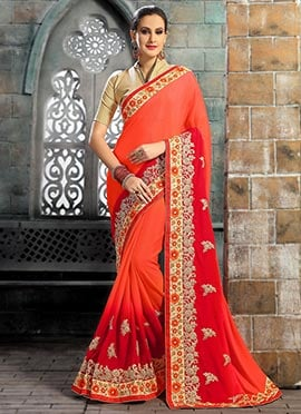 Beige N Red Chiffon Saree