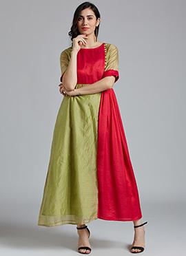 Beige N Red Cotton Dress