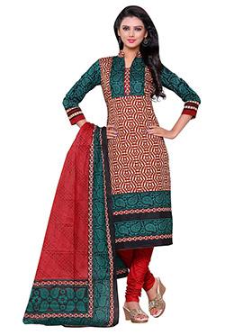 Beige N Maroon Cotton Printed Churidar Suit