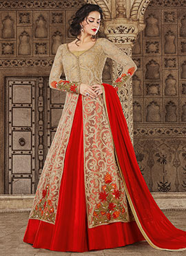 Beige N Red Embroidered A Line Lehenga