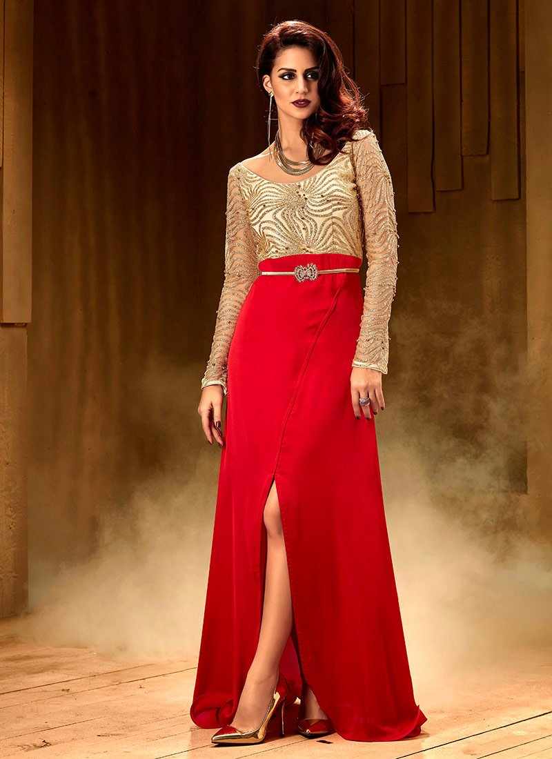 Buy Beige N Red Front Slit Anarkali Gown, Beads , Zari , Embroidered ...