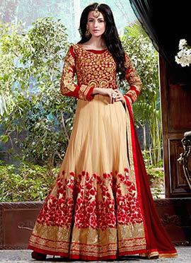 Beige N Red Georgette Anarkali Suit