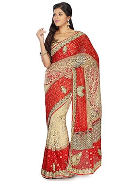 Beige N Red Handwork Foliage Patterned Brasso Saree