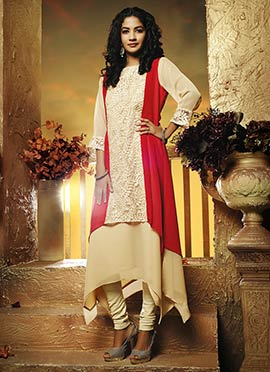 Beige N Red Layered Style Tunic