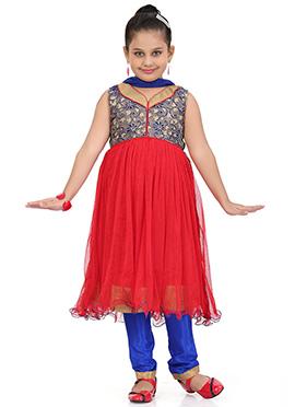 Beige N Red Net Anarkali Suit