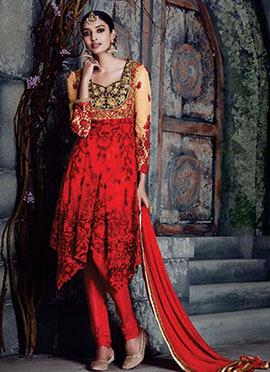 Beige N Red Net Asymmetrical Churidar Suit