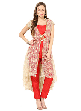 Beige N Red Net Jacket Style Straight Pant Suit