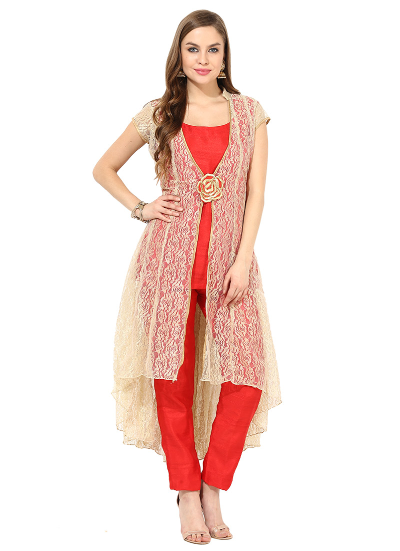 Buy Beige N Red Net Jacket Style Straight Pant Suit