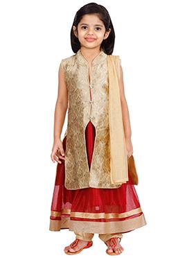 Beige N Red Net Kids Anarkali Suit