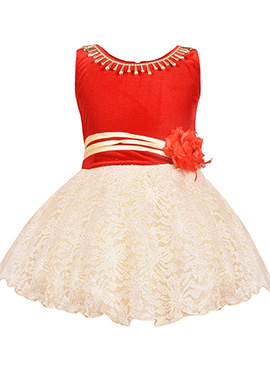 Beige N Red Net Kids Dress