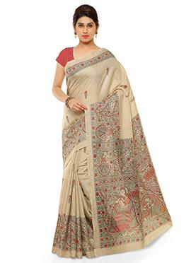 Beige N Red Pashmina Printed Saree
