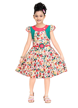 Beige N Red Polyester Kids Gown