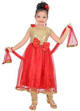 Beige N Red Satin Net Kids Anarkali Suit