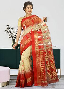 Beige N Red Silk Cotton Jamdani Saree