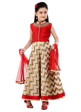 Beige N Red Teens Anarkali Suit