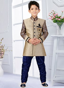 Beige N Royal Blue Art Silk Breeches Style Kids Sherwani