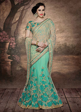 Beige N Sea Green Lehenga Saree