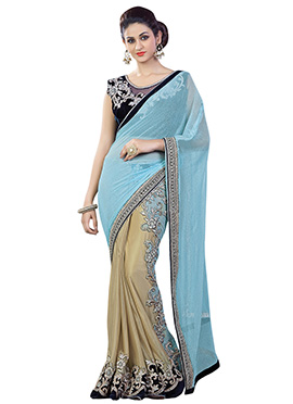 Beige N Sky Blue Readypleated Half N Half Saree