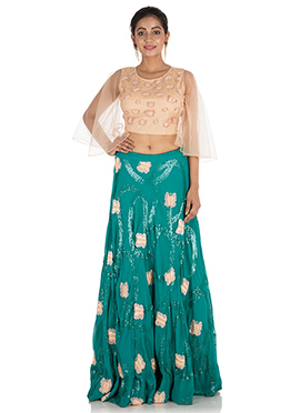 Beige N Teal Green Georgette Skirt Set
