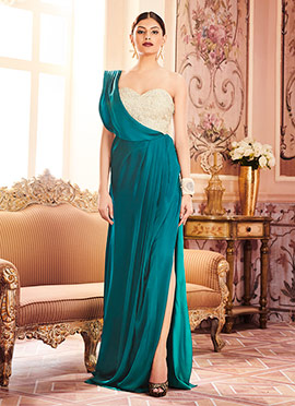 Beige N Teal Green Satin Gown