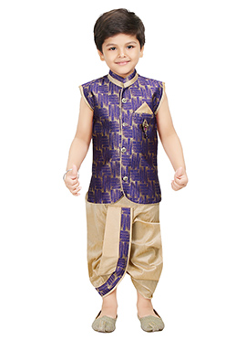 Beige N Violet Blended Cotton Kids Dhoti Kurta