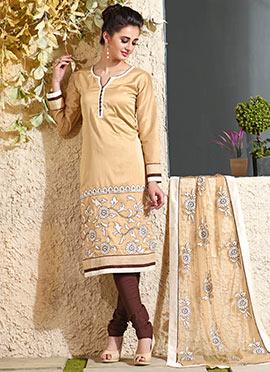 Beige N White Art Chanderi Silk Cotton Churidar Suit