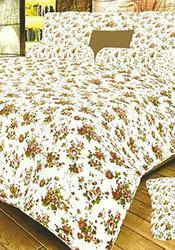 Beige N White Cotton Bed Sheet