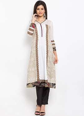 Beige N White Cotton Kurti