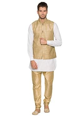 Beige N White Cotton Linen Bandi Set