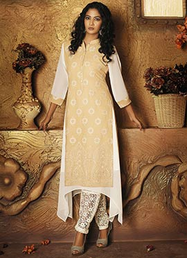 Beige N White Georgette Layered Tunic