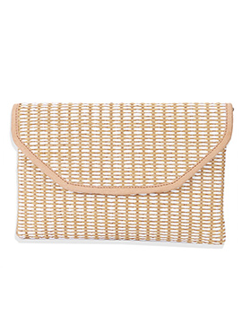 Beige N White Leather Clutch