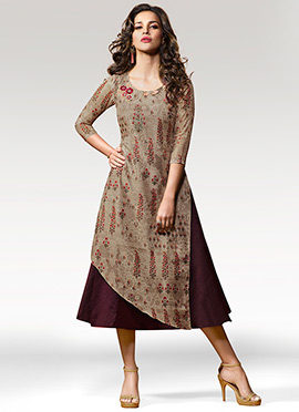 Beige N Wine Printed Layered Kurti
