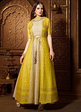Beige N Yellow Art Raw Silk Anarkali Suit