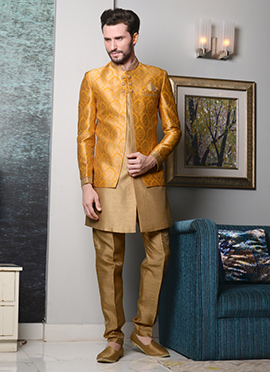 Beige N Yellow Art Silk Indowestern Sherwani