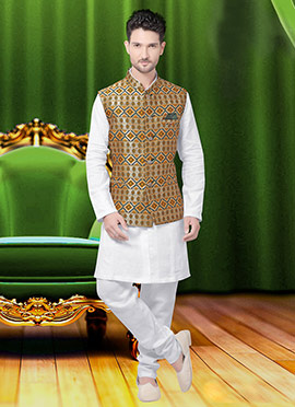 Beige N Yellow Art Silk Nehru Jacket