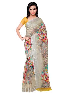 Beige N Yellow Art Silk Printed Saree