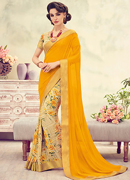 Beige N Yellow Half N Half Saree