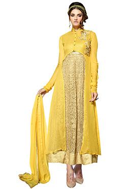 Beige N Mango Yellow Jacket Style Anarkali Suit